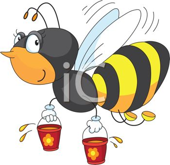 350x339 Picture Of A Honey Bee Carrying Buckets Of Honey In A Vector Clip