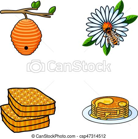 450x452 A Hive On A Branch, A Bee On A Flower, A Honeycomb With Vector