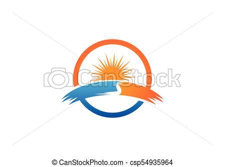 450x334 Vector Icon Logo Template Sun Over Horizon Clip Art Vector