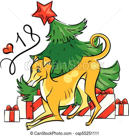 445x470 Yellow Dog For New Year 2018, Cute Symbol Of Horoscope. Cute