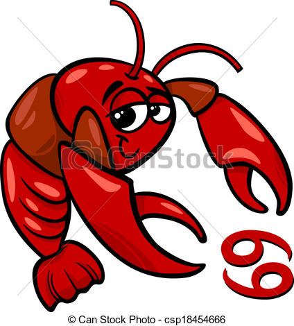 424x470 Cancer Or The Crab Zodiac Sign. Cartoon Illustration Of Clip