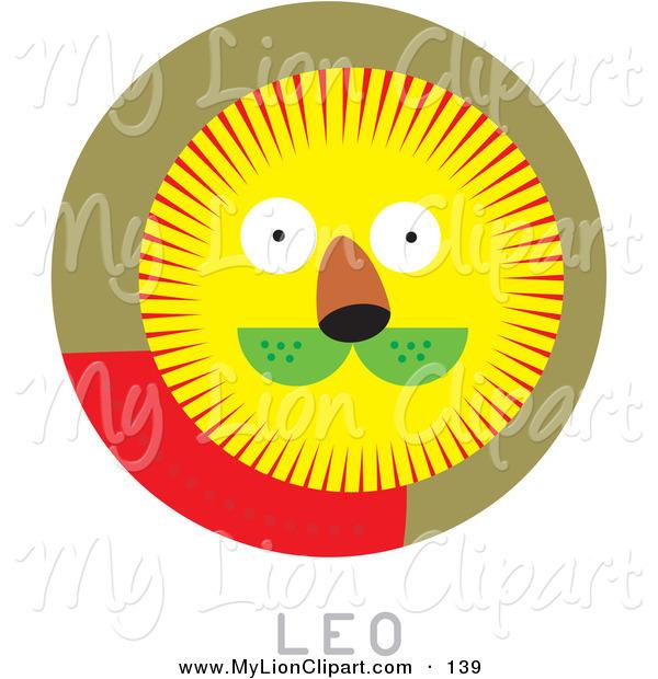600x620 Clipart Of A Circular Leo Astrology Scene On White By Venki Art