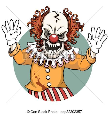 450x470 Clown Vector Illustration. Clown Angry. Face Horror And Clipart