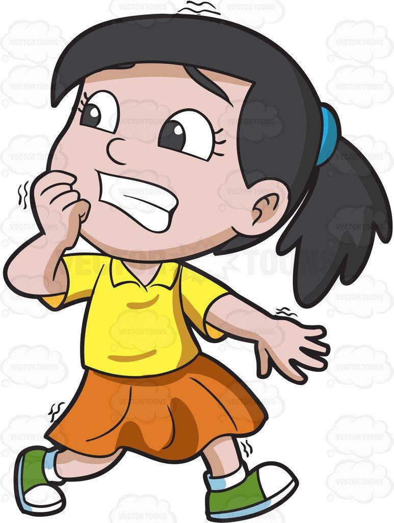 773x1024 A Girl Running Away In Horror Cartoon Clipart Vector Toons