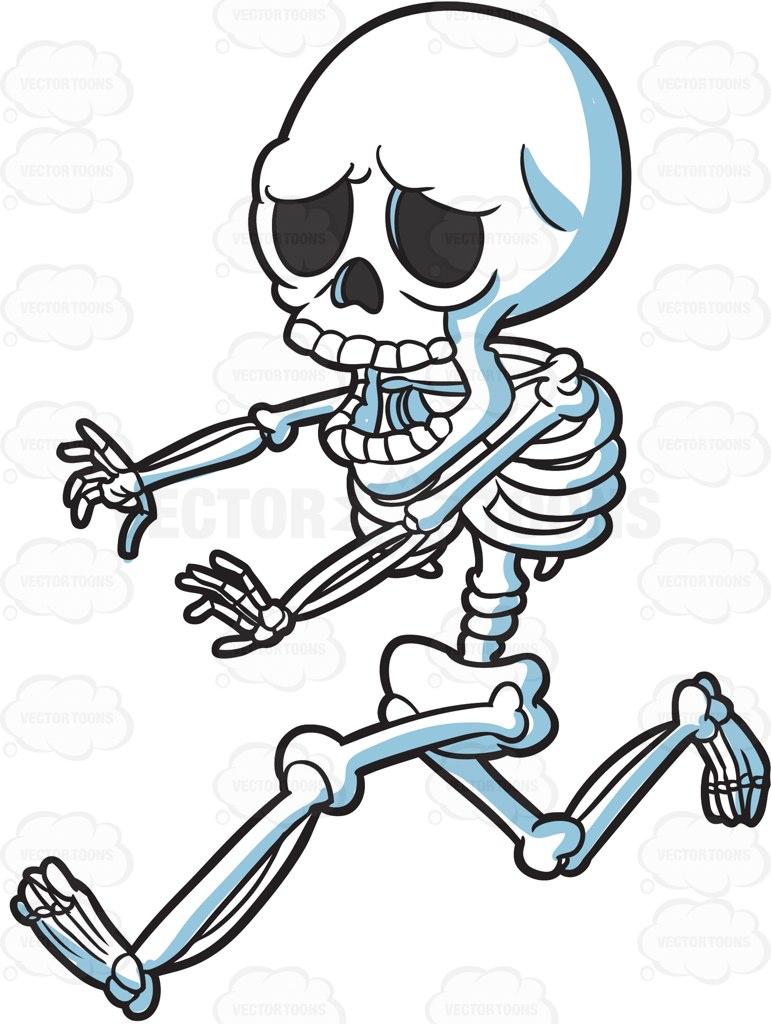 771x1024 A Skeleton Running Away In Horror Cartoon Clipart Vector Toons