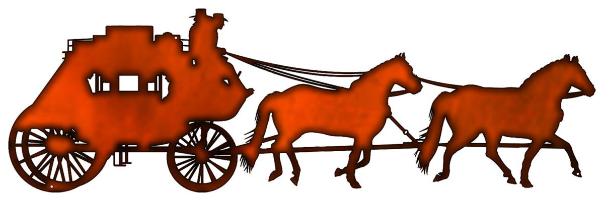 1200x400 Horse Drawn Carriage Cut Out Faux Copper Finish Metal Sign
