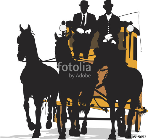 500x472 Three Horse Drawn Carriage, Vector Illustration Stock Image