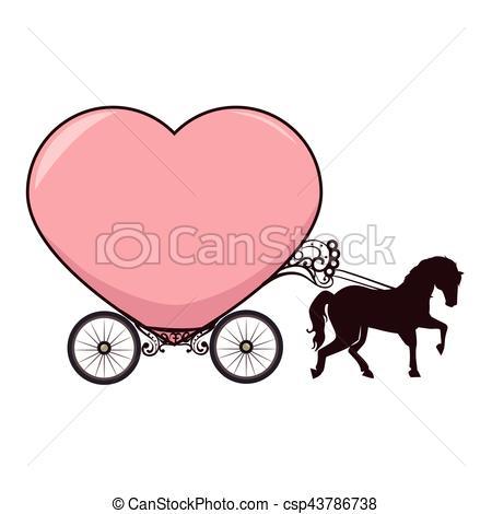 450x470 Horse Carriage Romantic Card Vector Illustration Design Vectors