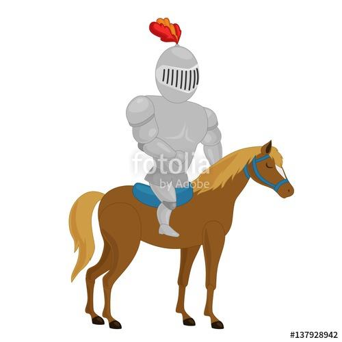 500x500 Cartoon Knight Riding A Horse. Vector Clip Art Illustration