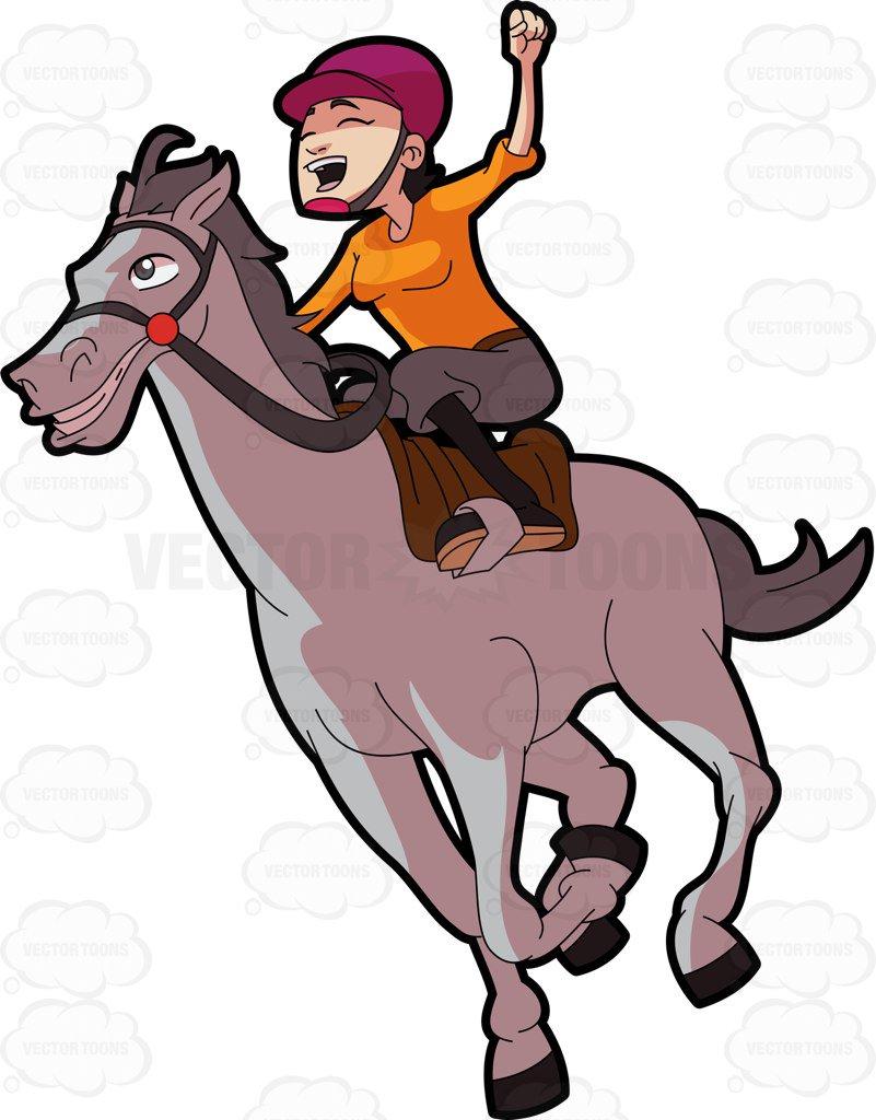 801x1024 A Female Jockey Enjoying Her Win At The Derby Cartoon Clipart