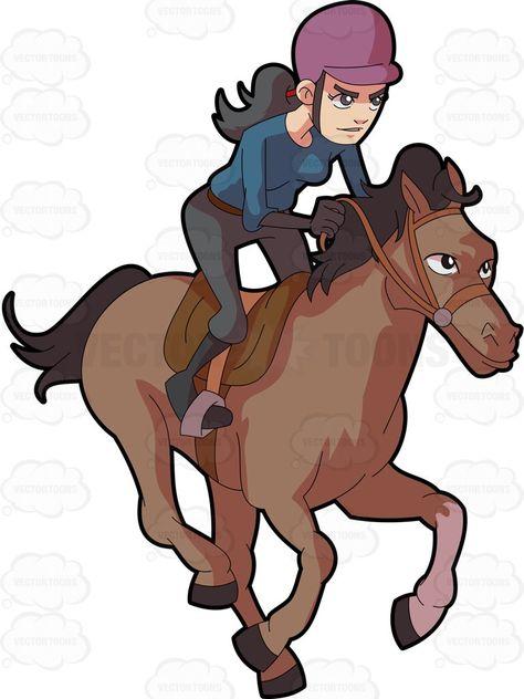 474x632 A Female Jockey Riding A Crazy Horse Horse Cartoon