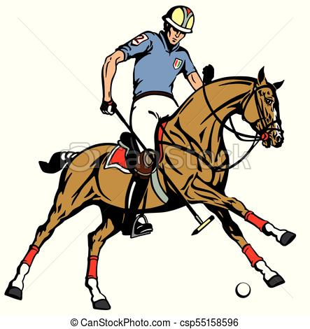 443x470 Equestrian Polo Sport Player Riding A Pony Horse And Eps