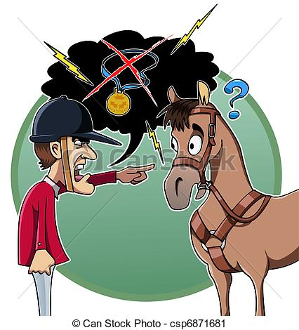 426x470 Cartoon Style Illustration An Angry Rider Blames His Horse