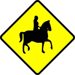 300x300 Caution Horse Ridder Crossing Clip Art