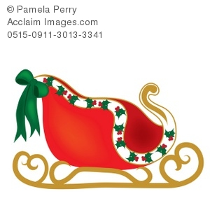 300x300 Clip Art Illustration Of Santa's Sleigh