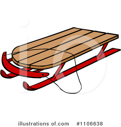400x420 Clip Art Of A Old Sled Clipart