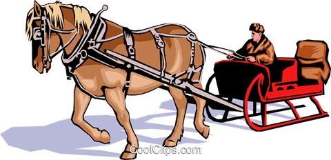 480x232 Horse Drawn Sleigh Royalty Free Vector Clip Art Illustration
