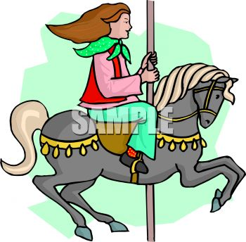 350x344 Picture Of A Girl Riding On A Horse And Carousel In A Vector Clip