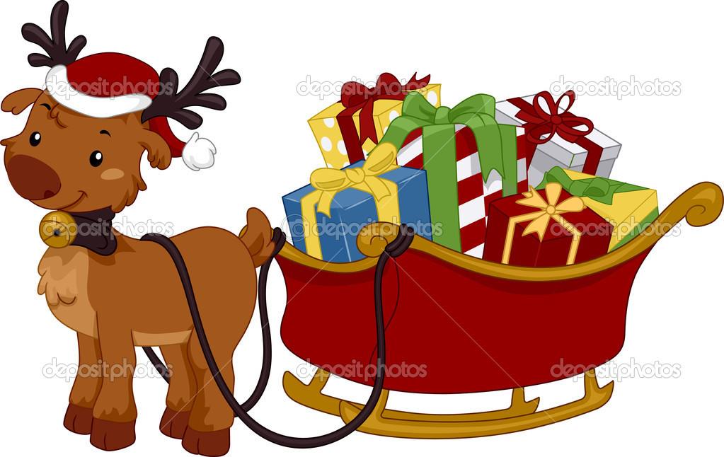 1023x646 Reindeer Sleigh Clipart