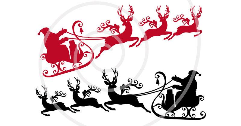 800x420 Santa Claus Sleigh Reindeer Clipart