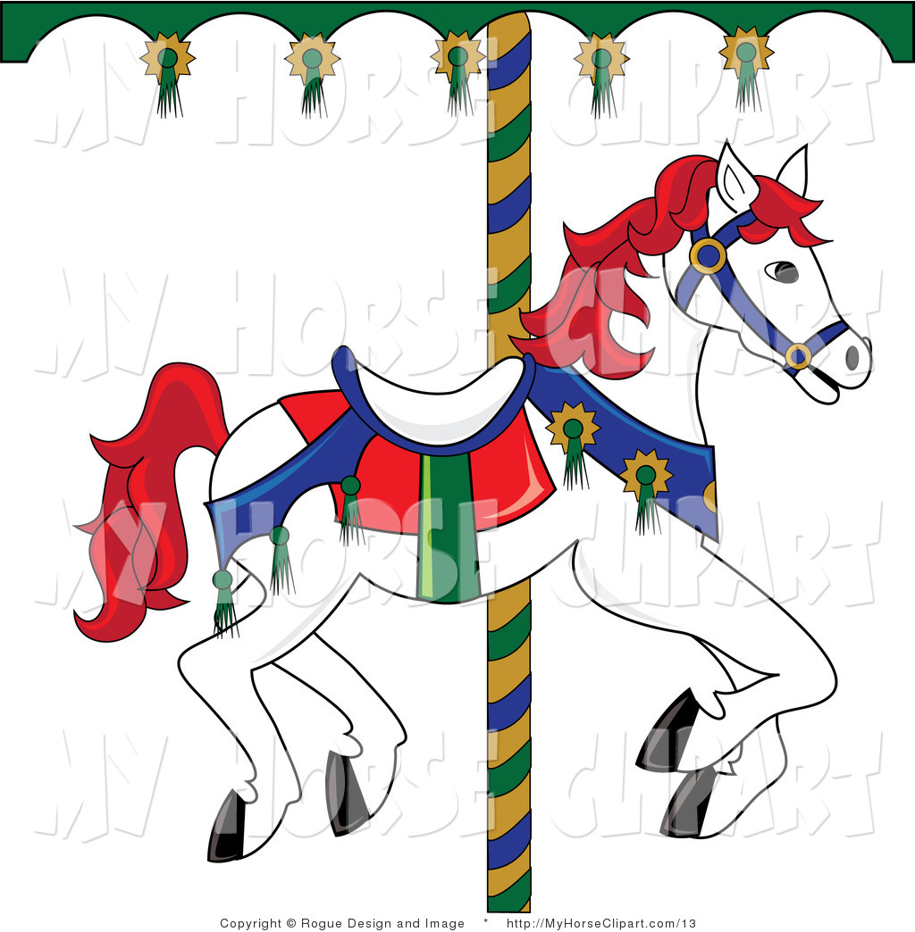 1024x1044 Vector Clip Art Of A White Carousel Horse With Red Mane And Tail