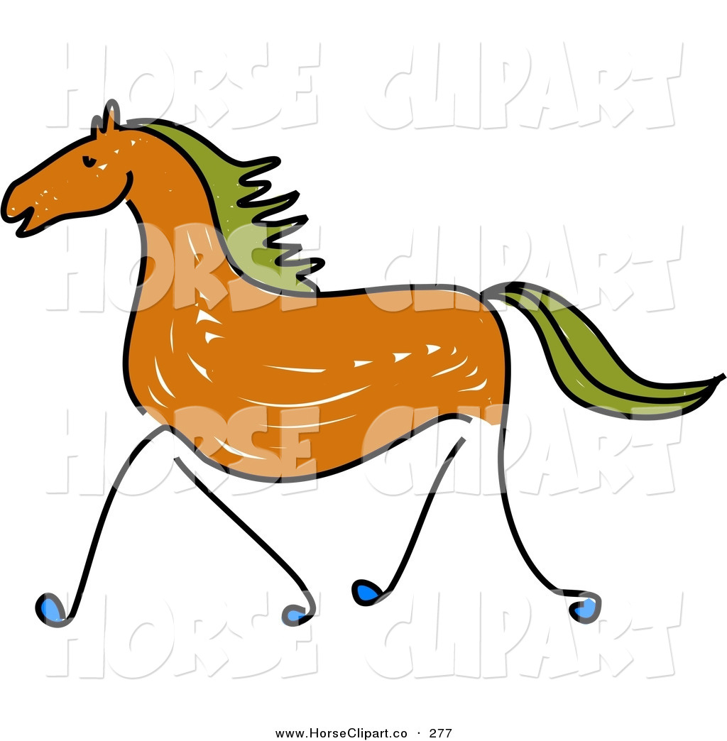 1024x1044 Clip Art Of A Sketched Brown Galloping Horse With Green Hair
