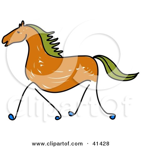 450x470 Clipart Illustration Of A Sketched Brown Galloping Horse