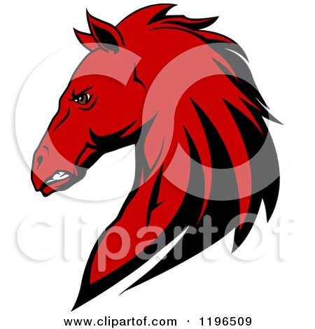 450x470 Clipart Of A Tough Red Horse Head In Profile