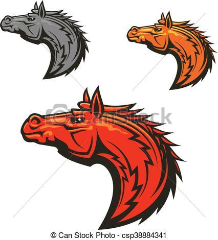 426x470 Horse Stallion Mascot Heads Set. Horse Stallion Head Emblems