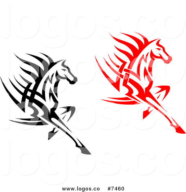 600x620 Royalty Free Clip Art Vector Logos Of Black And Red Fast Horses By
