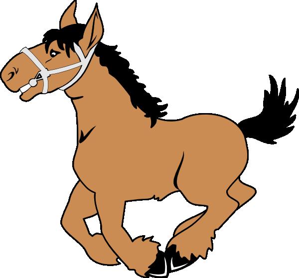 600x558 Happy Jumping Cartoon Horse Clip Art