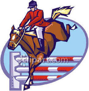 291x300 Horse And Rider Jumping At A Horse Show