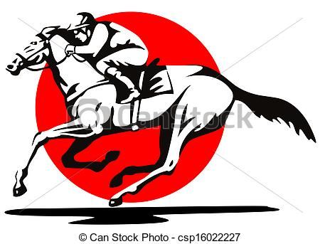 450x343 Horse And Jockey Racing Retro. Illustration Of A Horse And Clip