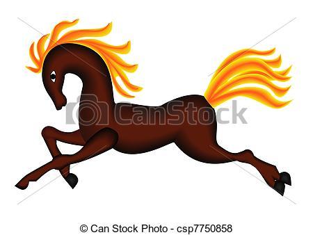 450x338 Illustration Running Horse With Developing Burning Mane Vector
