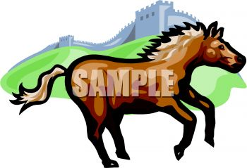 350x239 Picture Of A Horse Jumping By A Hill Of Grass In A Vector Clip Art