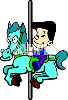 239x350 Picture Of A Boy Riding On A Horse And Carousel In A Vector Clip