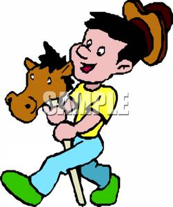 251x300 A Boy Riding A Stick Horse Clipart Picture