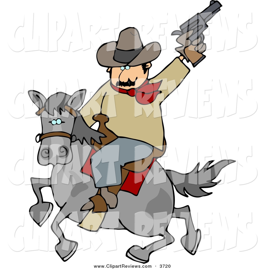1024x1044 Clip Art Of A Mustached Cowboy Riding Horse While Pointing