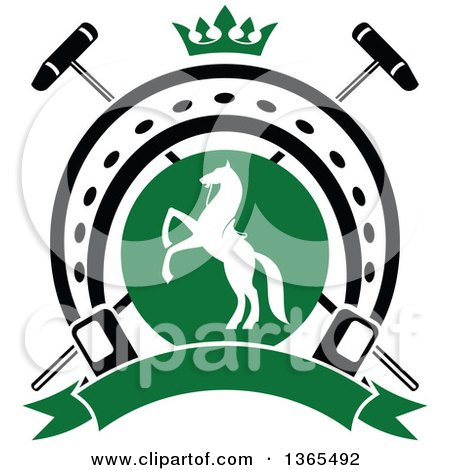 450x470 Clipart Of A White Silhouetted Rearing Horse In A Horseshoe Over