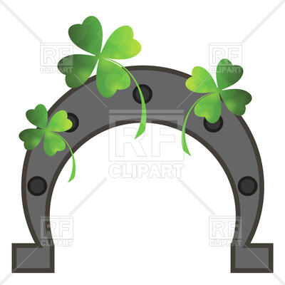 400x400 Green Clover Leaves And Horseshoe
