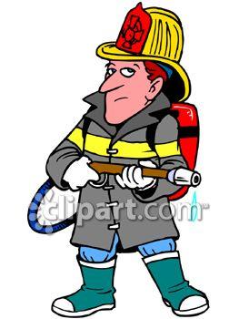 263x350 Fireman Holding A Fire Hose