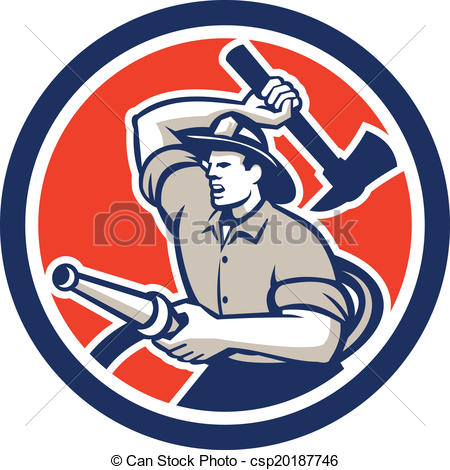 450x470 Fireman Firefighter Holding Hose Axe Circle Retro . Eps Vector