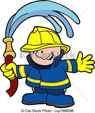398x470 Illustration Of Fireman Holding Water Hose Vector