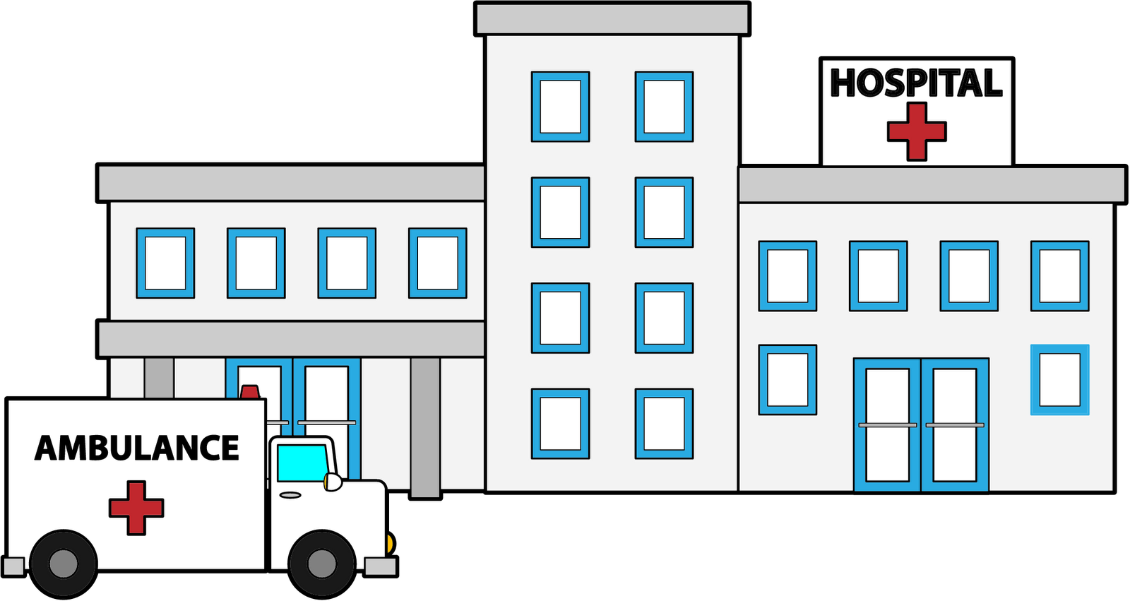 1600x851 Collection Of Hospital Building Clipart Black And White High