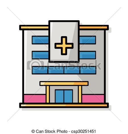450x470 Hospital Building Doodle Clipart Vector