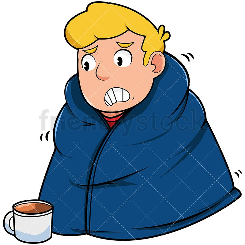 800x800 Man Staying Warm With Blanket Cartoon Vector Clipart