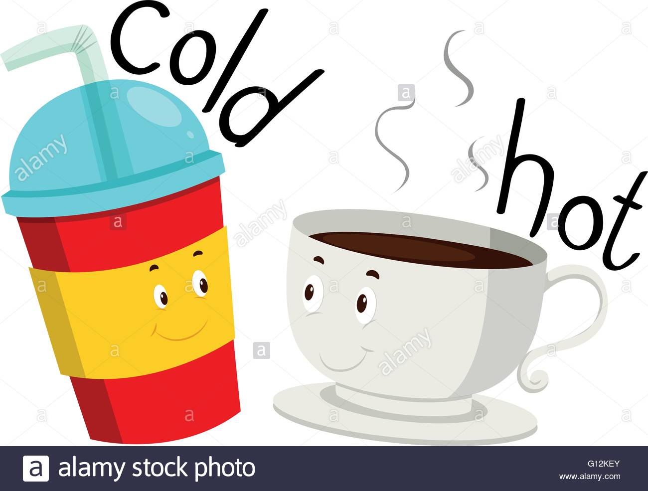 1300x985 Opposite Adjective Cold And Hot Illustration Stock Vector Art