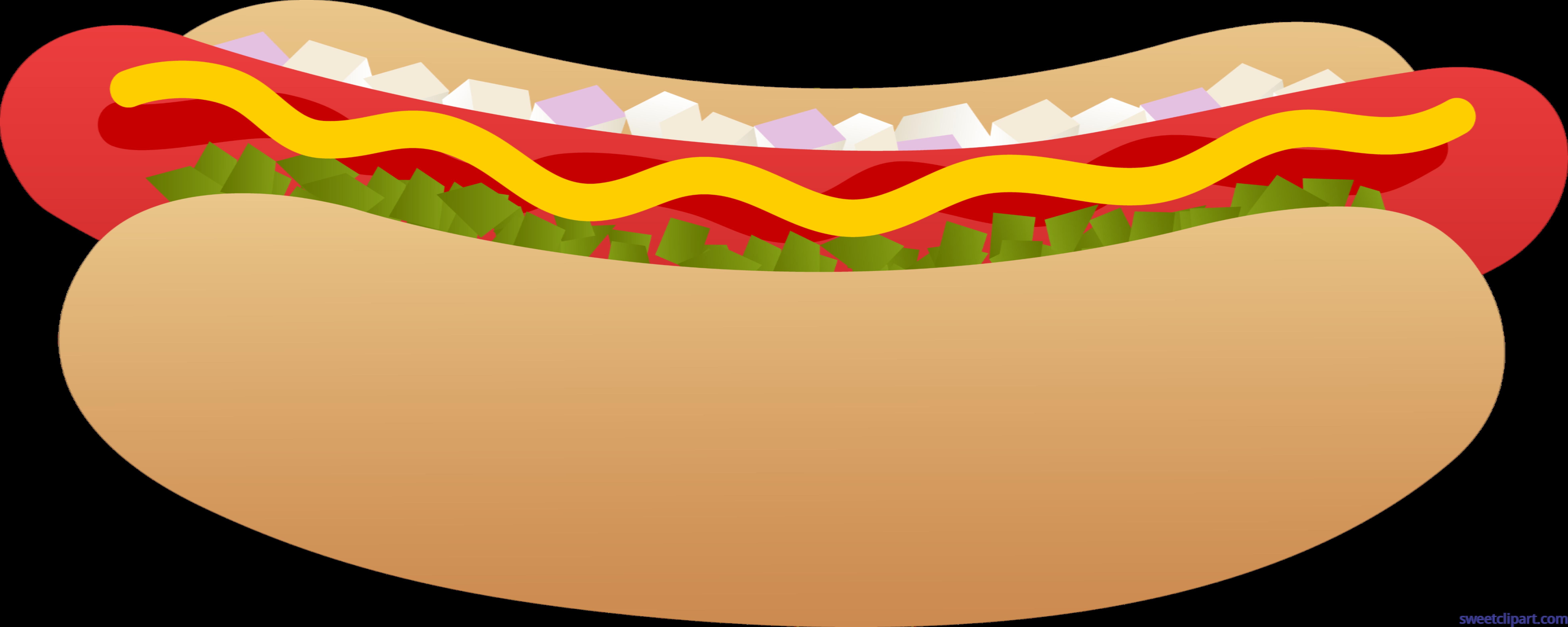 7846x3137 Hot Dog On Bun Clip Art