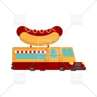 400x400 Hot Dog Car Food Truck. Fast Food Car. Royalty Free Vector Clip