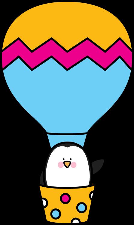 446x747 Penguin In A Hot Air Balloon. Transportation Clip Art